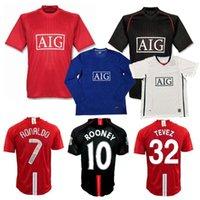 레트로 클래식 2007 2008 2009 축구 유니폼 맨체스터 Evra Ferdinand Rooney Scholes Giggs Ronaldo Saha 07/08/09 40th United Football Shirt