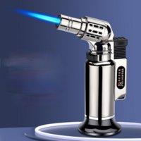 Enganador de spray direto Isqueiro Metal à prova de vento Tocha de soldagem azul chama de ignição gun gun alimento helper briquetes e acessórios fumures
