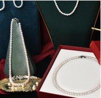 Collana da donna naturale di alta qualità a basso prezzo naturale della perla naturale 7mm. L 42 cm. Totale 45 cm. Catene