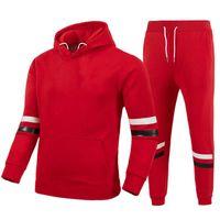 Men's Tracksuits 2021 Youthful Vitality Winter Hoodie Suit Fashion Wool Black Pants Casual Jogging Sportswear Sweatshirt Pullov