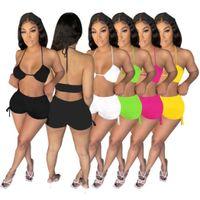 Summer Sexy Club Sportswear 2 pezzi Set da donna TrackSuits Bra Shorts Outfits Jogging Sportsuit Shirt Pantaloni Suits Felpa Sport Suit D455