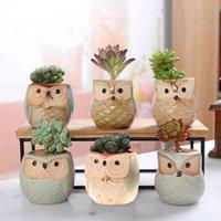 6 sztuk Owl Garnki Sadzarki Płynne Glazura Baza Zestaw Serial Ceramiczne Sadzarka Biurko Kwiat Pot Słodkie Design Soczyste Plante