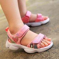 ULKNN Girls Summer Sandals Fashion Big KIDS Princess Shoe Children Soft-Sole Korean-style Little Girl CHILDREN'S Shoes 210402
