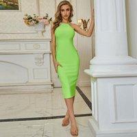 Casual Dresses LEGG Winter Women Sexy Designer Neon Green Bandage Dress Ladies Elegant Bodycon Midi Party Vestido