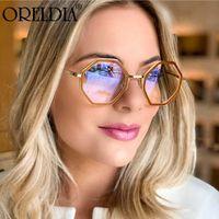 Солнцезащитные очки мода плоский круглый монтаж нерегулярной женщиной индивидуальный антиини синий свет может быть оборудован близорукими очками