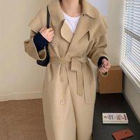 Women's Wool & Blends Cardigan Coat Korean Elegant Lapel Double Breasted Loose Lace Up Two Wear Cape Detachable Faced Woolen