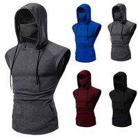 Men's Hoodies & Sweatshirts Mens Tank Top Skull Mask Button Sports Vest Hooded Splice Large Open-forked Male Gym Clothing Bodybuilding Men T