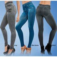 Women's Leggings 2021 Yoga Fake Pocket Corset Imitation Denim Seamless Pants Sport Women Fitness CN(Origin)