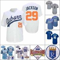 Bo Jackson Jersey College Vintage 1985 Voltar Azul 1987 1989 Branco Cooperstown Baseball Asg Patch Cinza Tamanho Preto S-3XL