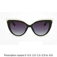 Diopter Female Myopia Sunglasses Oversized Big Frame Vintage Designer Luxury Fashion Lady Cat Polarized Driving Sun Glasses NX