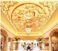 Wallpapers Wall Decoration Golden Dragon 3d Wallpaper Modern For Living Room Murals Ceiling Non Woven