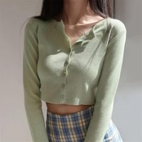 Women's Knits & Tees Korean Style O-neck Short Knitted Sweaters Women Thin Cardigan Fashion Sleeve Sun Protection Crop Top Ropa Mujer