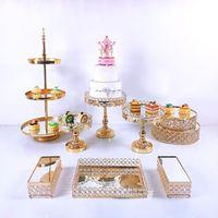 Другие праздничные партии поставляет 8-12 шт. Акриловое зеркало металлическое стенд торта установить круглый свадебный день рождения десерт золотой кекс пьедестал дисплей пластины