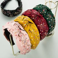 New 2021 Fashion Girls Headband Handmade Shining Pearls Rhinestone Ornament Hairband Women Middle Knot Turban Hair Accessories