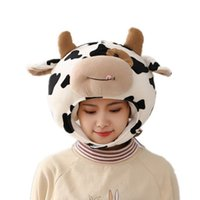 Funny Milk Cow Head Plush Hat Pillow Spot Print Cartoon Animal Stuffed Toy Headgear Cap Cosplay Party Photo Props