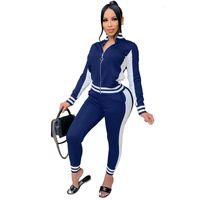 Joskaa Mulheres Casuais Queda Jumpsuit de Manga Longa Zip Top + Lado Listrado Dois Peça Set Calças de Fitness Tracksuit High Waist Streetwear