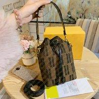 Marcas de designer de alta qualidade mini balde saco clássico letras de lona bordado multi-cor f impressão mulheres bolsas bolsa bolsa de cordão crossbody