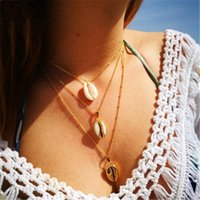 Baloki Boho Shell Pendant Necklace Natural Gold Cowrie For W...