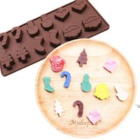 Silicone Cake Mould Christmas Santa Claus stocking tree Shaped Chocolate Mold Cookie Fondant Jelly Decorating Kitchenware Baking DWd6842
