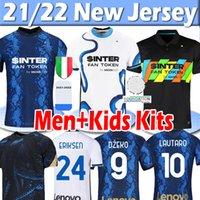 Lates 2021 2022 Inter Away Futbol Formaları Dzeko Lautaro J. Correa Calhanoğlu Campioni Jersey 21/22 Milan Vidal Barella Erkekler Kids Kits Futbol Gömlek Üst