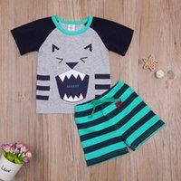 Clothing Sets 2-7Y Toddler Kids Baby Boy Short Sleeve Cartoon Animal T-shirt Tops Striped Shorts Bottom 2PCS Summer Clothes Set