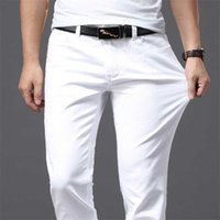 Brother Wang мужская белая джинсы мода повседневный классический стиль тонкий подходит мягкие брюки мужской бренд продвинутые ручные штаны 211008