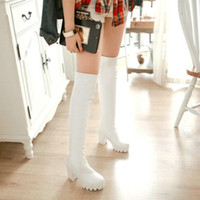 Boots ZawsThia Plain White Black Round Toe Platform Chunky High Heels Womens PU Stretch Socks Booties Overknees Over The Knee