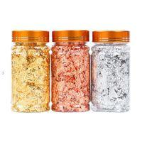 3G серебряные золотые медрые листовые хлопья для скользящих искусств ремесел украшения серебряная фольга фрагменты хлопья хлопья с розничной бутылкой HHA5694