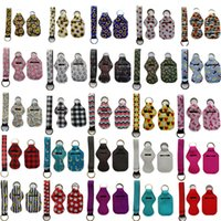 3 Pieces Travel Keychain Set for Party Favor, Including 30ml Hand Sanitizer and Chapstick Holder, Wristlet Lanyard 95 Colors