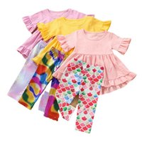 Kids Clothing Sets Girls Outfits Baby Clothes Child Suits Summer Cotton Short Sleeve Dress Tops Mermaid Trousers Leggings Tights Pants 2Pcs 1-6Y B5174