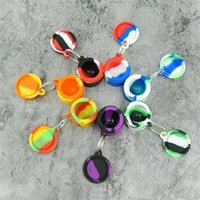 Nonstick wax containers silicone box Smoking Accessories bag 6ml silicon jars dab tool Stash storage oil Rigs rubber holder with keychain