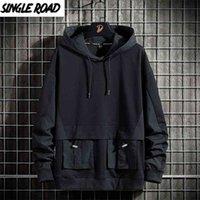 Single Road Mens Felpe con cappuccio Primavera Techwear Hip Hop Felpa Felpa Giapponese Streetwear Oversized Black Hoodie Plus Size 210827