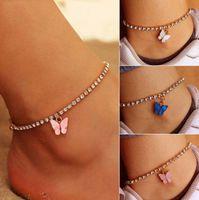 Dulce lindo mariposa tobillera Rhinestone Crystal tobillero pulsera Boho Playa Acrílico Tobilleras para mujeres Sandalias Pulseras de pie