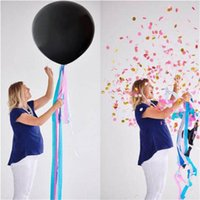 Set 36inch Gender Reveal Boy Or Girl Confetti Black Latex Balloon For Baby Shower Party Decoration