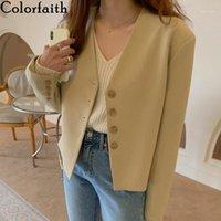 Colorfaithit New 2020 осень зима женские пиджаки V-образным вырезом повседневные кнопки куртки старинные дикие леди негабаритные короткие вершины JK10711