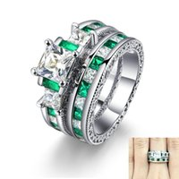 Wedding Rings 2Pcs Set Luxury Square Zircon For Women Fashion Silver Plated Female Promise Ring Set Gifts Jewelry Size 5-10