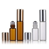 Clear Amber Glass Roll On Bottle 3ml 5ml For Perfume with Gold Silver Cap Stainless Steel Ball