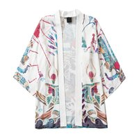 Men's Casual Shirts Fashion Japanese Kimono Men Loose Open Front 3 4 Sleeve Style Print Cover Up Cardigan Chemise