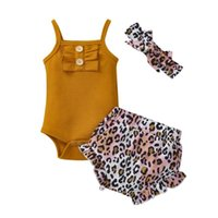 Baby Girls 3PC Clothes Set Ginger Solid Color Romper + Leopa...