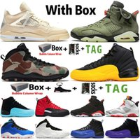 2021 Jumpman 4 Sail 4s Mens Basketball Shoes 6 6s Travis Scotts 10 10s Woodland Camo 12 12s University Gold Sports Trainers Sneakers