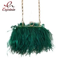 Evening Bags Luxury Ostrich Feather Party Clutch Bag Women Wedding Purses And Handbags Small Shoulder Chain Designer 2021