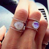 Boho Rainbow Opal Ringe für Frauen Männer Gelb Rose Gold Gefüllt Oval Mondstein Ring Weibliche Hochzeit Stapelbar Midi Cluster