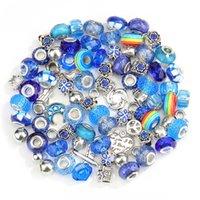 50pcs / lot acrylique perles perles d'espacement artisanat strass gros trou perle pendentif pour bracelet de charme collier mode bricolage bijoux fabrication