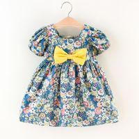 Girl's Dresses 2021 Girls' Dress Summer Children's Bubble Sleeve Bowknot Retro Style Floral Princess Flower Girl 0-6Y