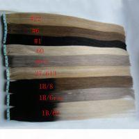 Tape en extensions ombre 40pcs Remy Balayage Cheveux humains Straight Ombre Skin Emptensions de cheveux