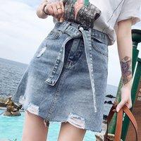 Women's Shorts Spring summer classic fashion mark belt print show thin casual high waist the line skirt denim 1H17