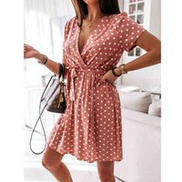 Womens Summer Fashion Mini Dress Short Sleeve V-Neck Ladies Polka Dot Dresses Split Vestidos For Femela Boho Beach Holiday Dress