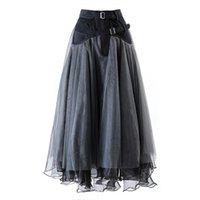 Etekler menkay vintage zarif denim patchwork mesh koyu gri yüksek bel yarım vücut etek kadın moda gelgit ilkbahar sonbahar