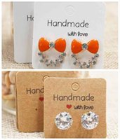 Tray Packaging & Jewelrydiy White Brown Handmade Stud Cute Square Jewelry Packing& Display Earring Package Card 500Pcs Per Lot 3*3Cm Drop De