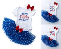 INS Baby Clothing Set Tutu Star Skirt With Bow Romper Headband 3pcs For Girl Photography My 1st 4th OF July Clothe Dress